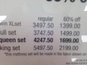 Fake mattress pricing at a department store